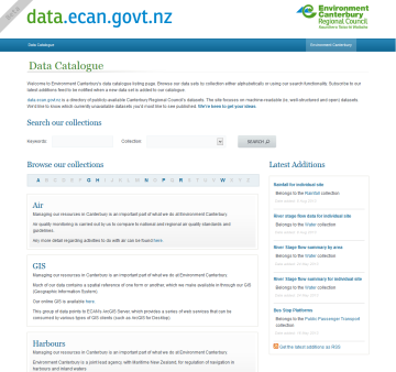 ECan Data Catalogue website