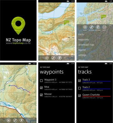 NZ Topo Map app for Windows Phone